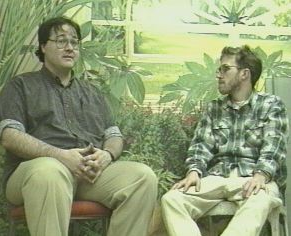"Paul Stanford of Tree Free Eco Paper talking with ""the Hempen Road"" documentary film producer Dave ""Uncle Weed"" Olson in 1997"